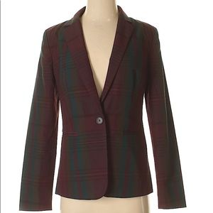 Ann Taylor Burgundy Plaid Blazer